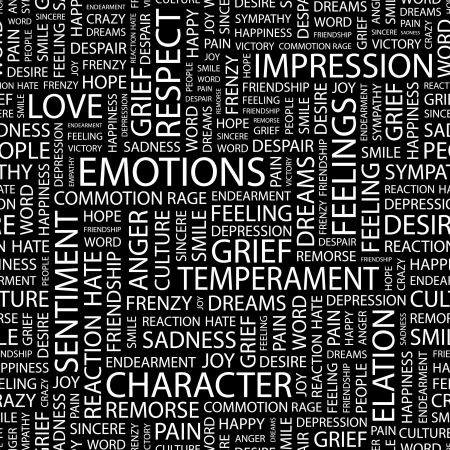 remorse: EMOTIONS. Seamless pattern with word cloud.