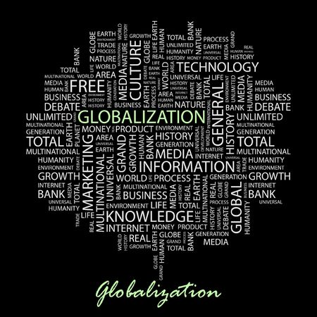 transnational: GLOBALIZATION. Word collage on black background.