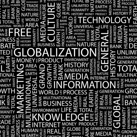 transnational: GLOBALIZATION. Seamless pattern with word cloud.   Illustration