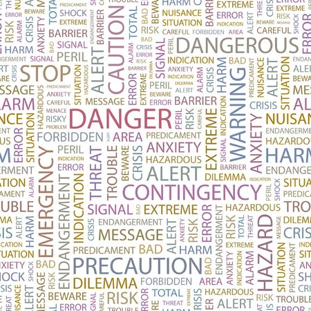 DANGER. Seamless background. Wordcloud illustration.   Stock Vector - 6879955