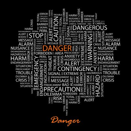 DANGER. Word collage on black background. Stock Vector - 6880099