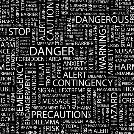 contingency: DANGER. Seamless pattern with word cloud.   Illustration