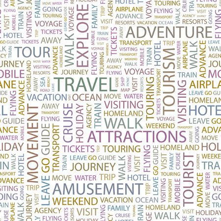 TRAVEL. Seamless background. Wordcloud illustration.   Vector