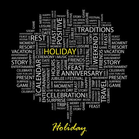 collage: HOLIDAY. Word collage on black background.
