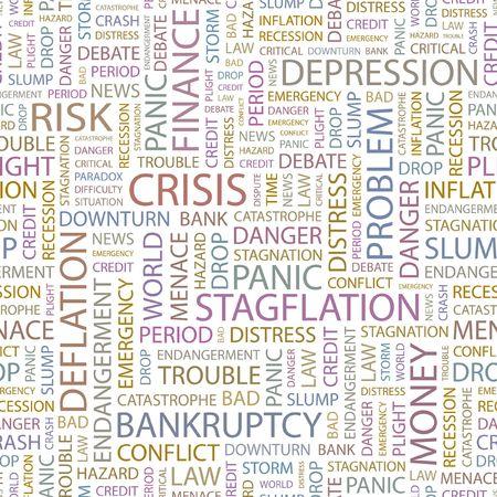 plight: CRISIS. Seamless background. Wordcloud illustration.