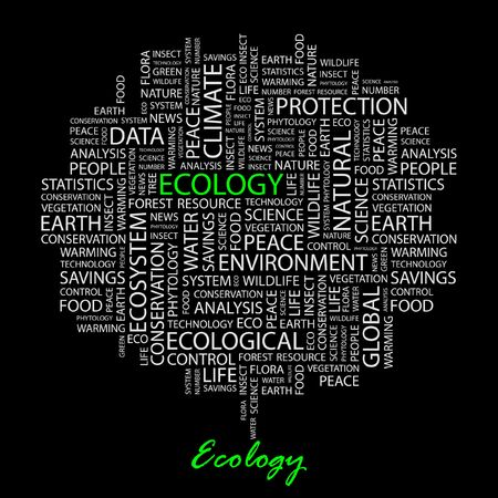 ECOLOGY. Word collage on black background. Vector