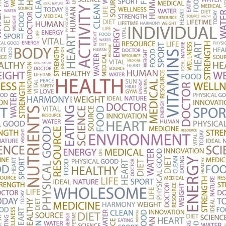 good health: HEALTH. Seamless background. Wordcloud illustration.