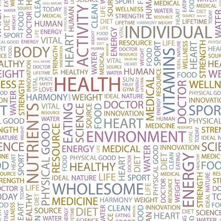 buena salud: SALUD. Fondo transparente. Ilustraci�n de Wordcloud.