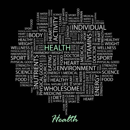 HEALTH. Word collage on black background.  Vector
