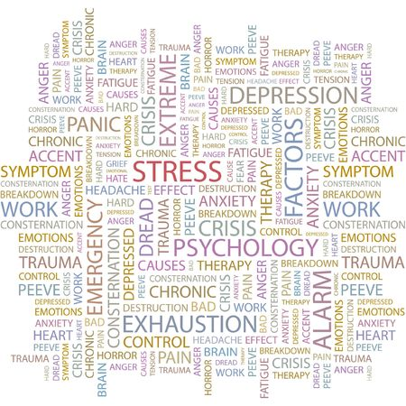 peeve: STRESS. Word collage on white background.