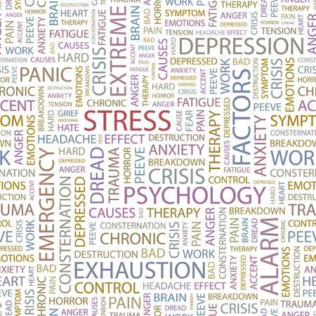 ストレス。シームレスな背景。Wordcloud の図。  イラスト・ベクター素材