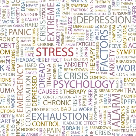 STRESS. Seamless background. Wordcloud illustration.   Vector