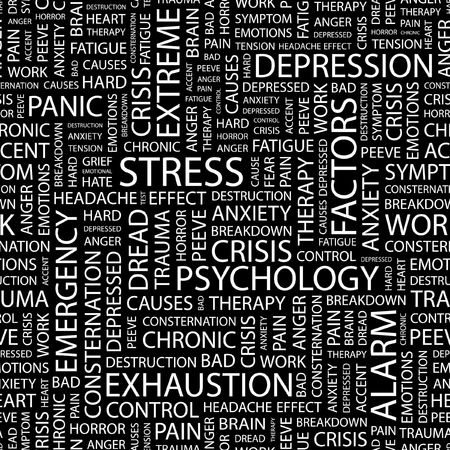 STRESS. Seamless pattern with word cloud.