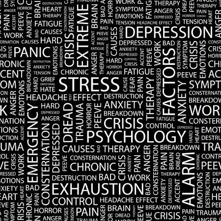 STRESS. Seamless pattern with word cloud. Vektoros illusztráció