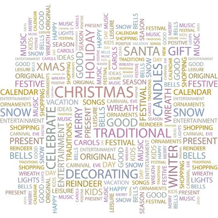 CHRISTMAS. Word collage on white background. Vector