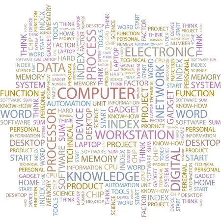 office automation: COMPUTER. Word collage on white background.