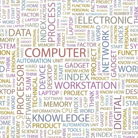 office automation: COMPUTER. Seamless background. Wordcloud illustration.