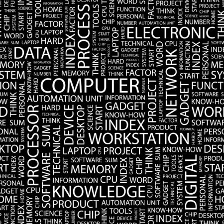 COMPUTER. Seamless pattern with word cloud.   Vector