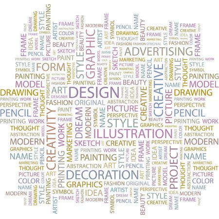 DESIGN. Word collage on white background.  Vector