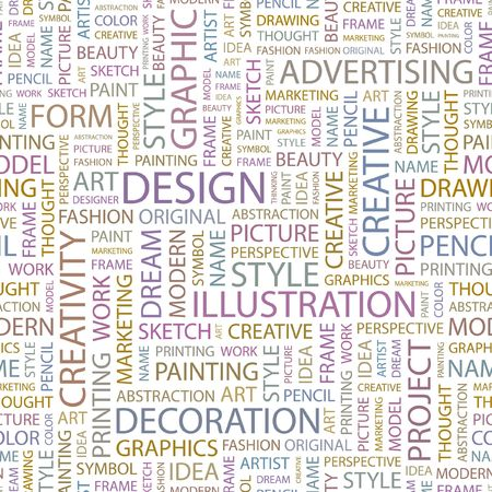 DESIGN. Seamless background. Wordcloud illustration.   Vector