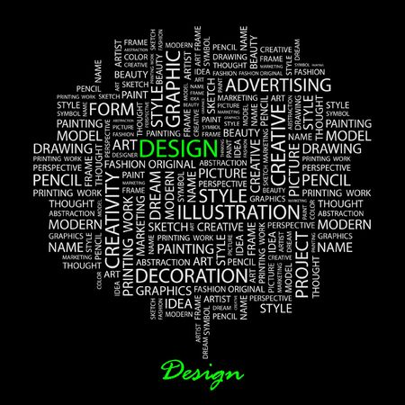 DESIGN. Word collage on black background. Vector