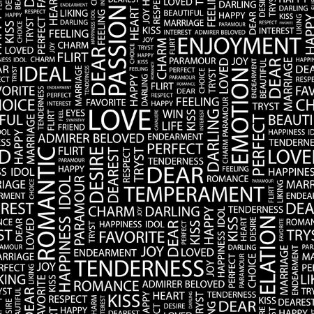 paramour: LOVE. Seamless pattern with word cloud.   Illustration