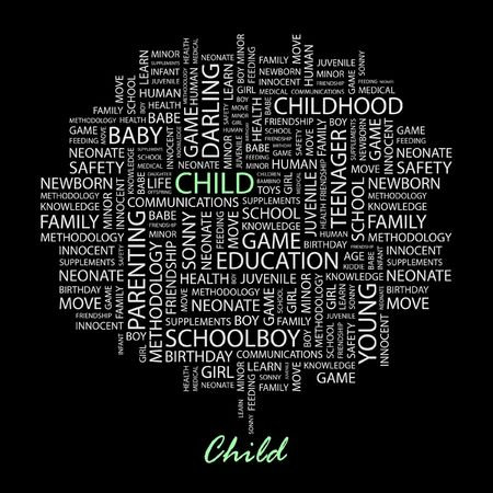 bambino: CHILD. Word collage on black background.