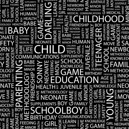 bambino: CHILD. Seamless pattern with word cloud.