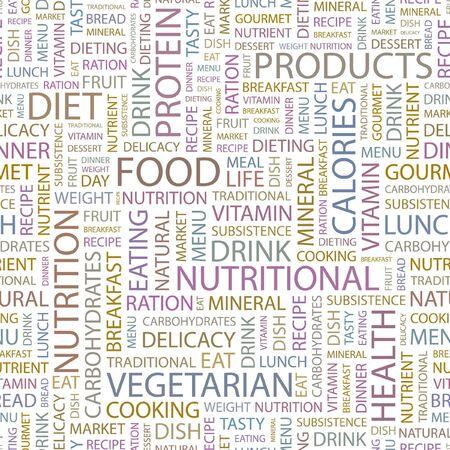 potluck: FOOD. Seamless background. Wordcloud illustration.   Illustration