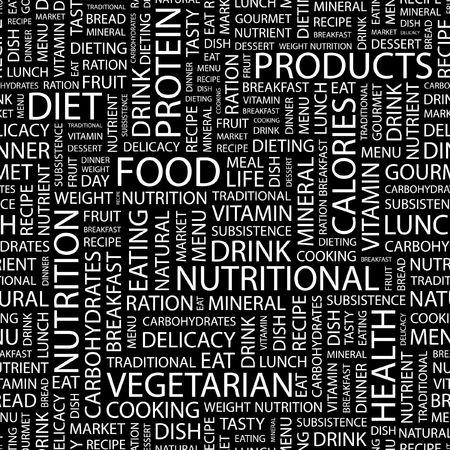 퓌레: FOOD. Seamless pattern with word cloud.