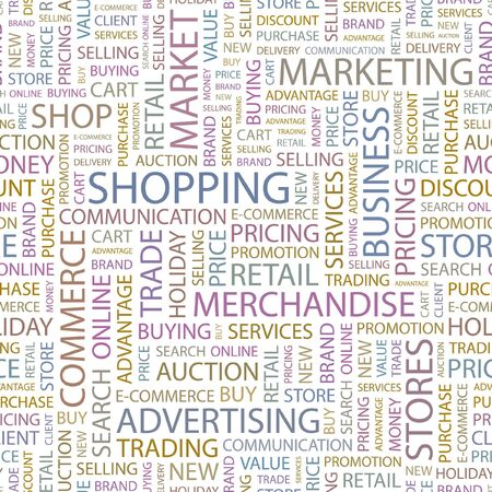 SHOPPING. Seamless background. Wordcloud illustration. Stock Vector - 6879881