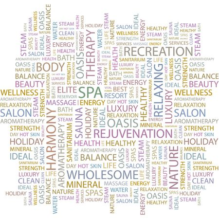 steam bath: SPA. Word collage on white background.  Illustration