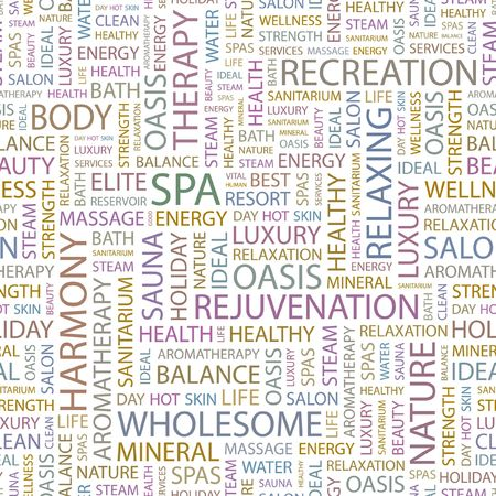 spa resort: SPA. Seamless background. Wordcloud illustration.   Illustration