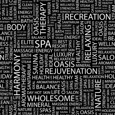 SPA. Seamless pattern with word cloud.