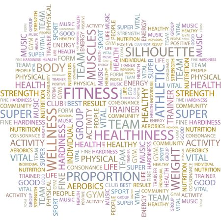 FITNESS. Word collage on white background.  Vector