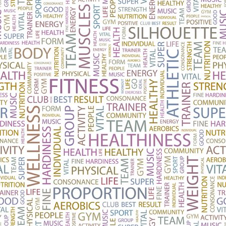 FITNESS. Seamless background. Wordcloud illustration.   Vector