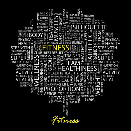 salubrity: FITNESS. Word collage on black background. Illustration