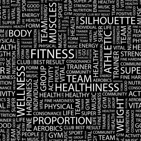 FITNESS. Seamless pattern with word cloud.   Vector