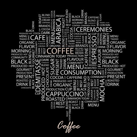 COFFEE. Word collage on black background.  Vector