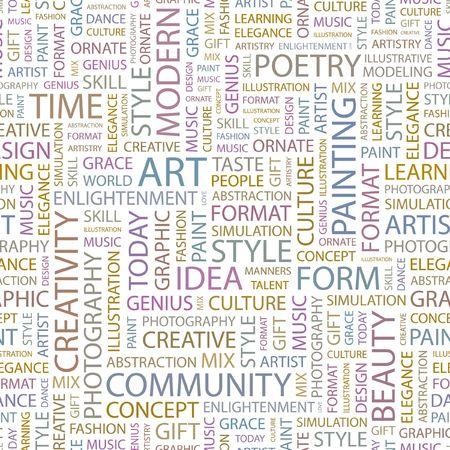 simulations: ART. Seamless background. Wordcloud illustration.