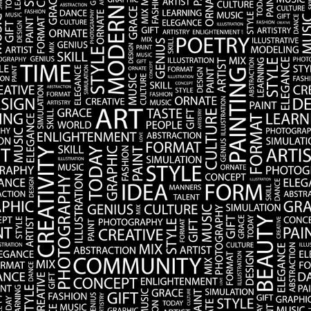 manners: ART. Seamless pattern with word cloud.