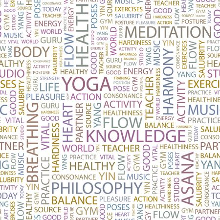 YOGA. Seamless background. Wordcloud illustration.   Vector