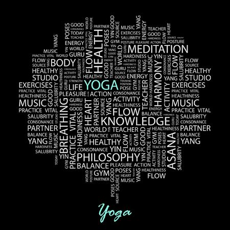 YOGA. Word collage on black background. Vector