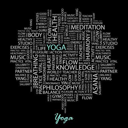 breathe easy: YOGA. Word collage on black background. Illustration
