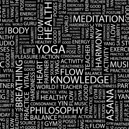 YOGA. Seamless pattern with word cloud.   Vector