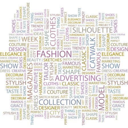 FASHION. Word collage on white background.