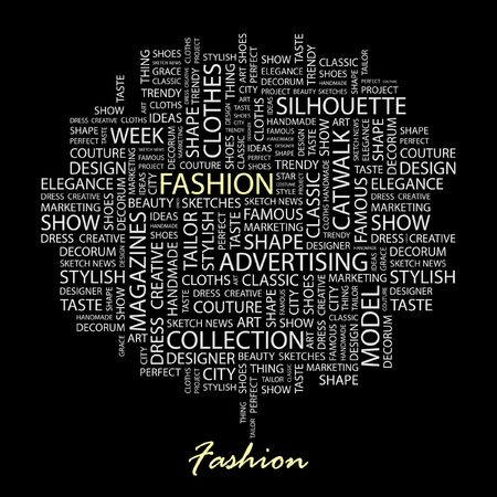 fashion catwalk: FASHION. Word collage on black background. Illustration