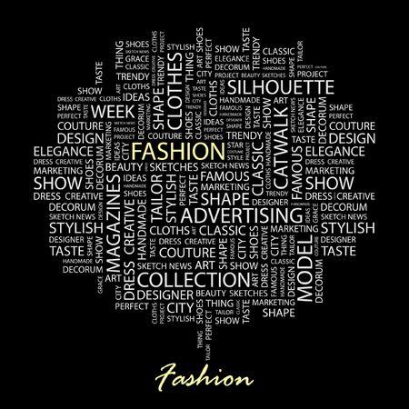 catwalk model: MODA. Parola di collage su sfondo nero.