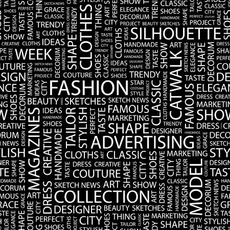 FASHION. Seamless pattern with word cloud.   Illustration