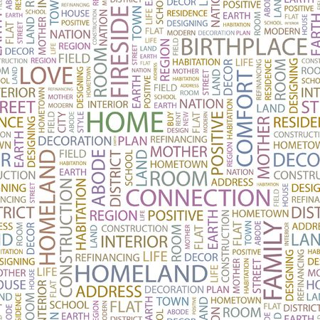birthplace: HOME. Seamless background. Wordcloud illustration.   Illustration